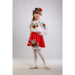 Заготовка дитячого плаття на 9-12 років Ніжні маки, волошки, колоски для вишивки бісером ПД005кБ40нн