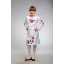 Заготовка дитячого плаття на 9-12 років Маки, волошки, колоски для вишивки бісером ПД010кБ40нн