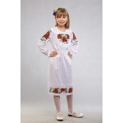 Заготовка дитячого плаття на 9-12 років Маки, ромашки, волошки для вишивки бісером ПД011кБ40нн