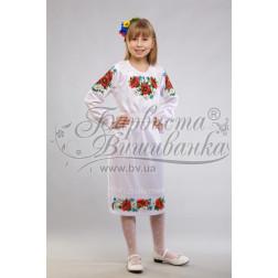 Набір ниток DMC для вишивки хрестиком до заготовки дитячого плаття – вишиванки на 9-12 років Маки, ромашки, волошки ПД011дБ40ннh