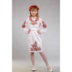 Заготовка дитячого плаття на 9-12 років Червоні маки, ромашки, колоски для вишивки бісером ПД012кБ40нн