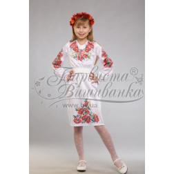 Набір ниток DMC для вишивки хрестиком до заготовки дитячого плаття – вишиванки на 9-12 років Червоні маки, ромашки, колоски ПД012дБ40ннh