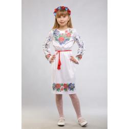 Заготовка дитячого плаття на 9-12 років Мальви, троянди, братки для вишивки бісером ПД013кБ40нн