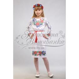 Набір ниток DMC для вишивки хрестиком до заготовки дитячого плаття – вишиванки на 9-12 років Мальви, троянди, братки ПД013дБ40ннh
