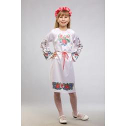 Заготовка дитячого плаття на 9-12 років Лілеї, троянди, незабудки для вишивки бісером ПД014кБ40нн