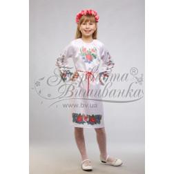 Набір ниток DMC для вишивки хрестиком до заготовки дитячого плаття – вишиванки на 9-12 років Лілеї, троянди, незабудки ПД014дБ40ннh