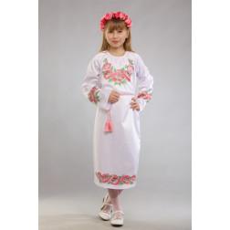 Заготовка дитячого плаття на 9-12 років Маки рожеві для вишивки бісером ПД015кБ40нн