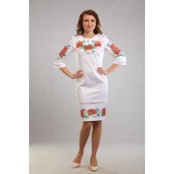 Заготовка жіночого плаття Маки, ромашки, волошки для вишивки бісером ПЛ001кБнннн