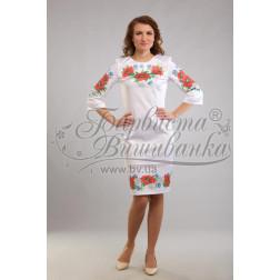 Набір бісеру Preciosa для вишивки бісером до заготовки жіночої сукні – вишиванки Маки, ромашки, волошки ПЛ001дБннннb