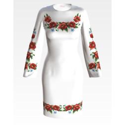 Заготовка жіночого плаття Маки, волошки для вишивки бісером ПЛ003кБнннн