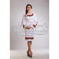 Набір бісеру Preciosa для вишивки бісером до заготовки жіночої сукні – вишиванки Маки, волошки ПЛ003дБннннb