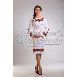Набір ниток DMC для вишивки хрестиком до заготовки жіночої сукні – вишиванки Маки, волошки ПЛ003дБннннh