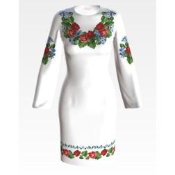 Заготовка жіночого плаття Троянди і незабудки для вишивки бісером ПЛ004кБнннн