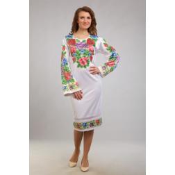 Заготовка жіночого плаття Розкішні квіти. Буковинська для вишивки бісером ПЛ006кБнннн