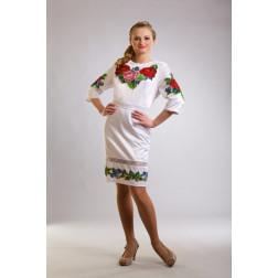 Заготовка жіночого плаття Королівські троянди, фіалки для вишивки бісером ПЛ007кБнннн