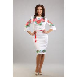 Заготовка жіночого плаття Пишні троянди, фіалки для вишивки бісером ПЛ008кБнннн