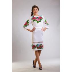 Заготовка жіночого плаття Рожеві троянди, фіалки для вишивки бісером ПЛ009кБнннн
