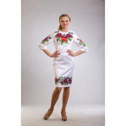 Заготовка жіночого плаття Лілові троянди, фіалки для вишивки бісером ПЛ010кБнннн