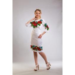 Заготовка жіночого плаття Пристрасні троянди, фіалки для вишивки бісером ПЛ011кБнннн