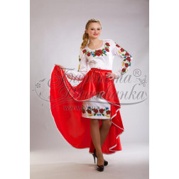 Набір ниток DMC для вишивки хрестиком до заготовки жіночої сукні – вишиванки Маки, волошки, колоски ПЛ013дБннннh