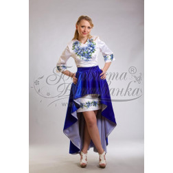 Набір ниток DMC для вишивки хрестиком до заготовки жіночої сукні – вишиванки Сині квіти ПЛ018дБннннh