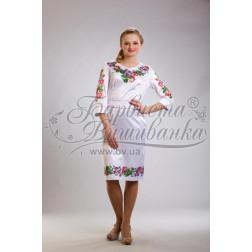 Набір бісеру Preciosa для вишивки бісером до заготовки жіночої сукні – вишиванки Троянди і фіалки ПЛ022дБннннb