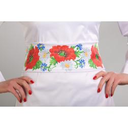 Заготовка жіночого пояса для вишивки бісером Барвиста Вишиванка Маки, ромашки, волошки ПС001кБнннн