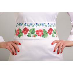Заготовка жіночого пояса для вишивки бісером Барвиста Вишиванка Троянди і незабудки ПС004кБнннн