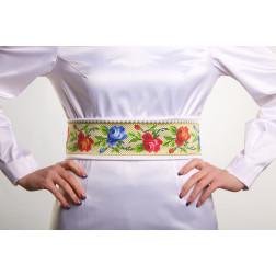 Заготовка жіночого пояса для вишивки бісером Барвиста Вишиванка Багаті квіти. Буковинська ПС005кБнннн