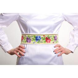 Заготовка жіночого пояса для вишивки бісером Барвиста Вишиванка Розкішні квіти. Буковинська ПС006кБнннн