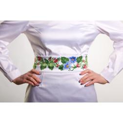Заготовка жіночого пояса для вишивки бісером Барвиста Вишиванка Пишні троянди, фіалки ПС008кБнннн