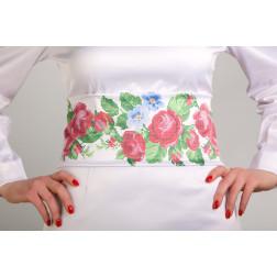 Заготовка жіночого пояса для вишивки бісером Барвиста Вишиванка Рожеві троянди, фіалки ПС009кБнннн