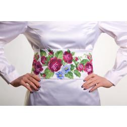 Заготовка жіночого пояса для вишивки бісером Барвиста Вишиванка Лілові троянди, фіалки ПС010кБнннн
