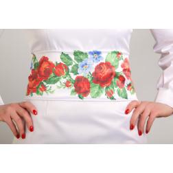 Заготовка жіночого пояса для вишивки бісером Барвиста Вишиванка Пристрасні троянди, фіалки ПС011кБнннн