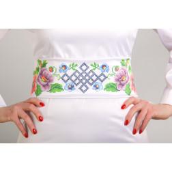 Заготовка жіночого пояса для вишивки бісером Барвиста Вишиванка Маки і незабудки. Молодіжна ПС014кБнннн
