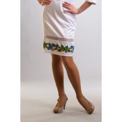 Заготовка жіночої спідниці для вишивки бісером Барвиста Вишиванка Королівські троянди, фіалки СЖ007кБнннн