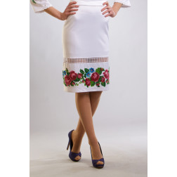 Заготовка жіночої спідниці для вишивки бісером Барвиста Вишиванка Рожеві троянди, фіалки СЖ009кБнннн