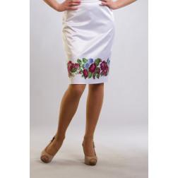 Заготовка жіночої спідниці для вишивки бісером Барвиста Вишиванка Лілові троянди, фіалки СЖ010кБнннн