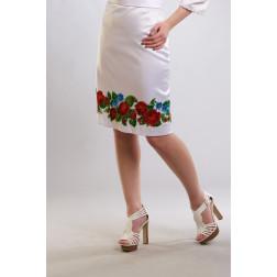 Заготовка жіночої спідниці для вишивки бісером Барвиста Вишиванка Пристрасні троянди, фіалки СЖ011кБнннн