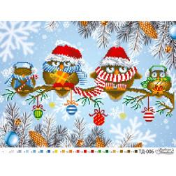 Набір для вишивки бісером Барвиста Вишиванка Совине сімейство (Серія: Новорічні сови) А3(42х30) ТД006пн4230k