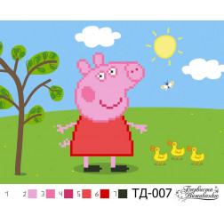 Схема для вишивки бісером Барвиста Вишиванка Свинка Пеппа (серія: Свинка Пеппа) А5(21х15) ТД007пн2115