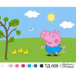 Схема для вишивки бісером Барвиста Вишиванка Джордж (серія: Свинка Пеппа) А5(21х15) ТД008пн2115