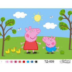 Набір для вишивки бісером Барвиста Вишиванка Свинка Пеппа і Джордж(серія: Свинка Пеппа) А4(30х21) ТД009пн3021k