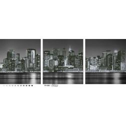Набір для вишивки бісером Барвиста Вишиванка Триптих «Місто, яке ніколи не спить» (чорно-біле) 96х36 ТМ009пн9636k