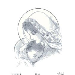 Схема для вишивки бісером Барвиста Вишиванка Марія з дитям сіра 45х60 ТО003пн4560