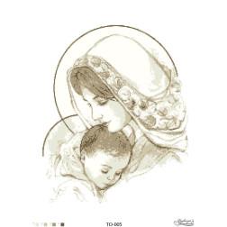 Схема для вишивки бісером Барвиста Вишиванка Марія з дитям бежева 45х60 ТО005пн4560
