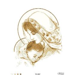 Схема для вишивки бісером Барвиста Вишиванка Марія з дитям коричнева 45х60 ТО007пн4560