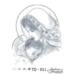 Схема для вишивки бісером Барвиста Вишиванка Марія з дитям сіра 25х35 ТО011пн2535