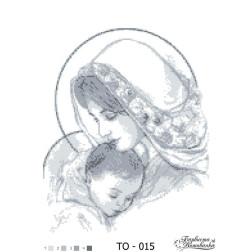 Схема для вишивки бісером Барвиста Вишиванка Марія з дитям сіра 35х45 ТО015пн3545