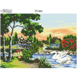 Схема для вишивки бісером Барвиста Вишиванка Лебеді на пруду 40х29 ТП001пн4029